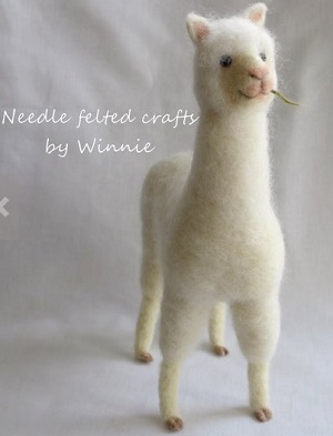 Felted White Alpaca miniture figurine created by Winnie C.