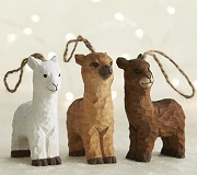 Rustic Carved Wooden Alpaca Ornaments