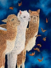 Midnight Ballet Alpacas and Butterflies painting by Laura Curtin