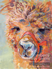 Snickers Alpaca Painting by Kimberly Santini